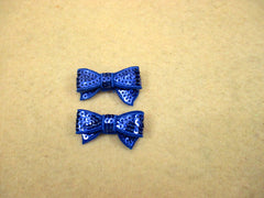 2 Piece -  SMALL  Royal Blue Sequin Bow Accent - Approx. 1 1/2 inch