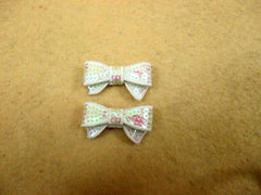 2 Piece -  SMALL White Iridescent Sequin Bow Accent - Approx. 1 1/2 inch