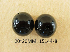 1 Piece  - 20MM ROUND BEAD 15144-8  - BLACK  - CHUNKY - FOR NECKLACE - BRACELET BEADS