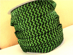 1 Yard -  5/8 inch - GLITTER GREEN AND HUNTER GREEN CHEVRON RIBBON - (NOT ELASTIC)