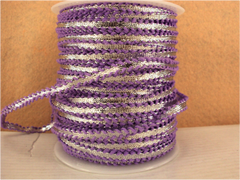 1 Yard -  1/4 inch - SILVER RIBBON - TRIMMED WITH LAVENDER LACES - (NOT ELASTIC)