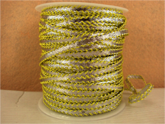 1 Yard -  1/4 inch - SILVER RIBBON - TRIMMED WITH YELLOW LACES - (NOT ELASTIC)