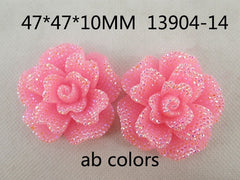1 Piece  - approx 1.8 inches - Sparkle Pink Flower Resin Center  - Accent - Flat Back Flatback 13904