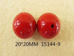 1 Piece  - 20MM ROUND BEAD 15144-9  - RED  - CHUNKY - FOR NECKLACE - BRACELET BEADS