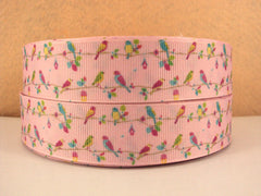 1 yard  1 inch Cutest Little Birdies on Light Pink - Bird - Birds  - Printed Grosgrain Ribbon