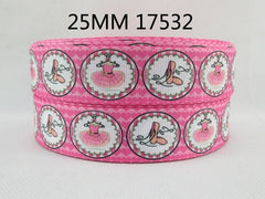 1 Yard 1 inch BALLET - CIRCLE DESIGN - DANCE - SPORTS - PINK  - Printed Grosgrain Ribbon