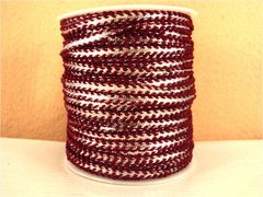 1 Yard -  1/4 inch - SILVER RIBBON - TRIMMED WITH MAROON LACES - (NOT ELASTIC)