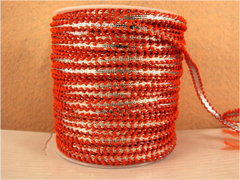 1 Yard -  1/4 inch - SILVER RIBBON - TRIMMED WITH ORANGE LACES - (NOT ELASTIC)