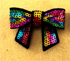 1 Piece -  MULTICOLOR Sequin Bow Accent - Approx. 2 inch