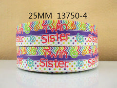 1 Yard 1 inch TWIN SISTER - CHEVRON AND POLKA DOTS WITH PURPLE HORIZONTAL STRIPE -  Printed Grosgrain Ribbon