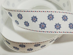1 Yard 1 inch NAUTICAL WHEELS ON WHITE - WITH BORDER -  Printed Grosgrain Ribbon