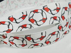 1 Yard 1 inch NAUTICAL LIFE SAVERS RED ON WHITE -  Printed Grosgrain Ribbon