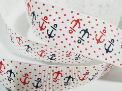 1 Yard 1 inch NAUTICAL ANCHORS RED AND NAVY ON WHITE WITH RED POLKA DOTS -  Printed Grosgrain Ribbon