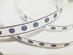 1 Yard 3/8 inch NAUTICAL WHEELS ON WHITE - WITH BORDER -  Printed Grosgrain Ribbon