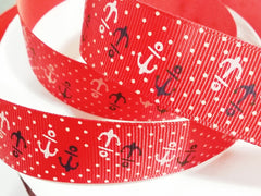 1 Yard 1 inch NAUTICAL ANCHORS WHITE AND NAVY ON RED WITH WHITE POLKA DOTS -  Printed Grosgrain Ribbon