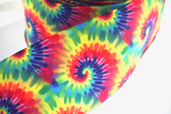 1 Yard 3 inch Tie Dye Classic Colors TRENDY - Printed Grosgrain Ribbon