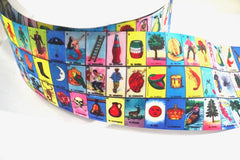 1 Yard 3 inch Mexico Mexican LOTERIA 16 de Septiembre 5 de Mayo Cinco Back to School Colorful Printed Grosgrain Ribbon Cheer Hair Bow - 3