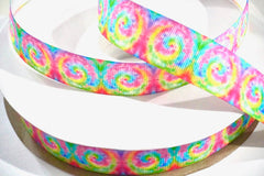 1 Yard 7/8 inch Tie Dye Pastel Colors TRENDY - Printed Grosgrain Ribbon