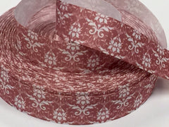 1 Yard 1 inch Pearl Damask on  Burnt Pink -  Printed Grosgrain Ribbon