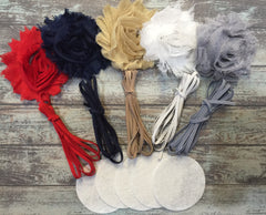 15 Piece Headband Shabby Flower DIY Kit - Baby Shower Gift - Makes 5 Headbands! Red, Navy, Beige, White, Gray