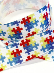 1 Yard 1 inch Puzzle Design (AUTISM) White Background  - Printed Grosgrain Ribbon