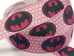 1 Yard 7/8 inch Batman Batgirl Bat Girl on Pink on Pink  - SUPER HERO - SUPER HEROES -  - Printed Grosgrain Ribbon