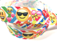 1 Yard 7/8 inch Happy Face colorful chevron  - Printed Grosgrain Ribbon