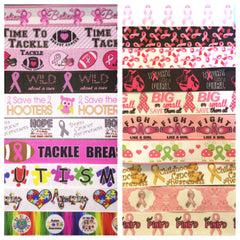AWARENESS RIBBON KIT - 60 YARDS TOTAL - 3 YARDS EACH DESIGN - 20 DIFFERENT DESIGNS - SOME 7/8 INCH AND SOME 1 INCH - PRINTED GROSGRAIN RIBBON BREAST CANCER AUTISM