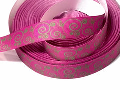 1 Yard 7/8 inch   - Green Swirls on Magenta Pink  -   Printed Grosgrain Ribbon