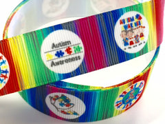 1 Yard 7/8 inch Autism Awareness - Circle Design - Printed Grosgrain Ribbon