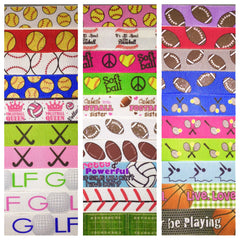 MIXED SPORTS RIBBON KIT - 60 YARDS TOTAL - 2 YARDS EACH DESIGN - 30 DIFFERENT DESIGNS - SOME 7/8 INCH AND SOME 1 INCH - PRINTED GROSGRAIN RIBBON FOOTBALL BASEBALL SOFTBALL BASKETBALL BASEBALL HOCKEY TENNIS VOLLEYBALL