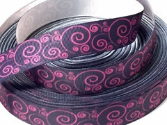 1 Yard 7/8 inch   - Pink Swirls on Dark Navy (almost black)  -   Printed Grosgrain Ribbon