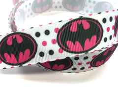 1 Yard 7/8 inch Batman Batgirl Bat Girl on Pink Black on White  - SUPER HERO - SUPER HEROES -  - Printed Grosgrain Ribbon