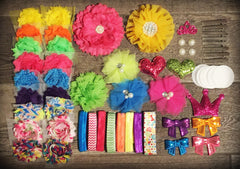 67 Piece SUMMER BRIGHTS -  Deluxe Headband Flower DIY Kit - Baby Shower Gift -  STUNNING!!!