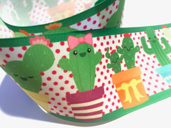 1 Yard 3 inch Cactus Cacti Pink Green on White Printed Grosgrain Ribbon Cheer Hair Bow - 3""