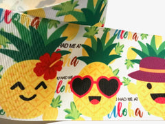 1 Yard 3 inch Pineapple Pineapples You had me at Aloha Tropical Cute Printed Grosgrain Ribbon Cheer Hair Bow - 3""