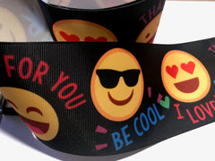 1 Yard - 3 inch Happy Face Laughing Heart Love Printed Grosgrain Ribbon Cheer Hair Bow - 3