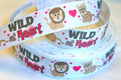 1 yard   1 inch   Wild At Heart on White - Printed Grosgrain Ribbon