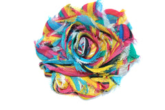 1 Piece -  RAINBOW STRIPES F124 Chiffon, Shabby Chic, Frayed Flower, Vintage Look for Headband, Hairclip, Hairbow