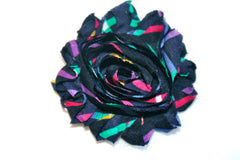 1 Piece -  BLACK / COLOR STRIPES F125 Chiffon, Shabby Chic, Frayed Flower, Vintage Look for Headband, Hairclip, Hairbow