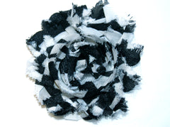 1 Piece - BLACK / WHITE STRIPES F129 Chiffon, Shabby Chic, Frayed Flower, Vintage Look for Headband, Hairclip, Hairbow