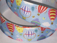 Yard 1 inch Hot Air Ballon on  Blue  Sky  -  Printed Grosgrain Ribbon