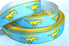 1 yard 7/8 inch MEMORIAL MUSTANGS - HIGH SCHOOL   -  Printed Grosgrain Ribbon
