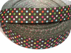1 Yard 1 inch  - Pink, green, light blue, yellow polka dots on Brown  Style P130 - Printed Grosgrain Ribbon