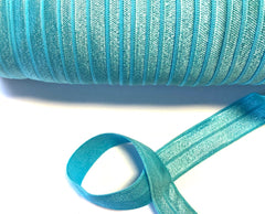 1 Yard -  5/8 inch - MISTY TURQUOISE #317 - Fold Over Elastic FOE SOLID 5/8""