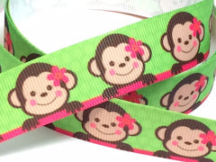 1 yard  7/8 inch  Cute Monkey on Lime Green Background -  Printed Grosgrain Ribbon