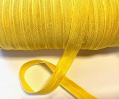 1 Yard -  5/8 inch - DAFFODIL YELLOW  #645 - Fold Over Elastic FOE SOLID 5/8""