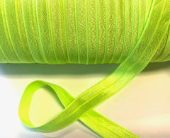 1 Yard -  5/8 inch - KEY LIME #544 - Fold Over Elastic FOE SOLID 5/8""
