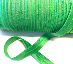 1 Yard -  5/8 inch - CLASSICAL GREEN #579 - Fold Over Elastic FOE SOLID 5/8