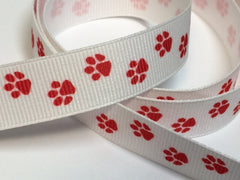 1 yard  5/8 inch   Tiny Red Spirit Paws  - Sports -  Printed Grosgrain Ribbon